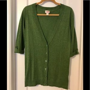 Mossimo Green cardigan with buttons Med